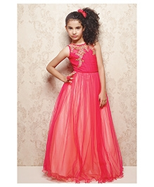 Doll Sleeveless Ornate Party Wear Frock - Pink