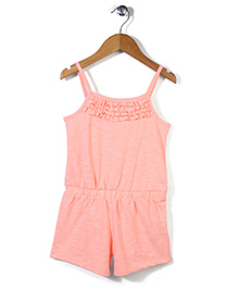 Mothercare Spaghetti Sleeves Frill Jumpsuit - Peach