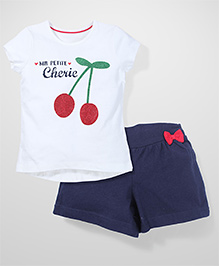 Mothercare T-Shirt And Shorts Cherry Print - White & Navy