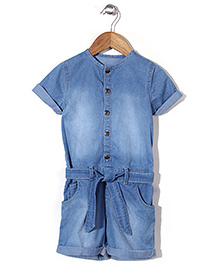 Mothercare Short Sleeves Denim Jumpsuit - Light Blue