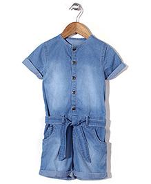 Mothercare Short Sleeves Denim Jumpsuit - Light Blue