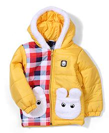 Babyhug Full Sleeves Hooded Jacket Logo Patch - Yellow