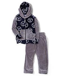 Valentine Full Sleeves Sweat Jacket And Pant Logo Print - Grey Navy