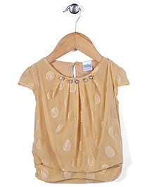 Babyhug Short Sleeves Top Self Design - Beige