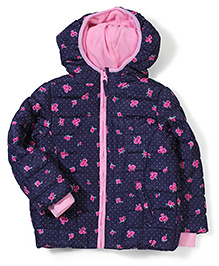 Mothercare Full Sleeves Padded Jacket With Hood Floral - Navy Blue