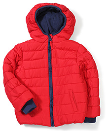 Mothercare Full Sleeves Padded Jacket With Hood - Red