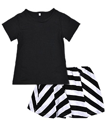Superfie Top & Skirt Set - Black & White