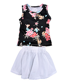 Superfie Floral Top & Skirt Set - Black & White