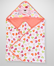 Bear Print Hooded Baby Blanket - Orange