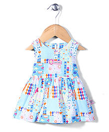 ToffyHouse Sleeveless Printed Frock Floral Patch - Blue