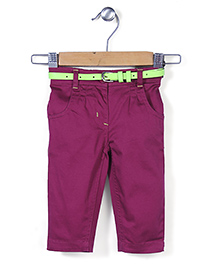 Baby League Pleated Pant With Belt - Purple