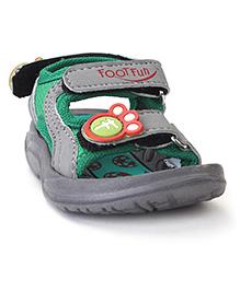 Footfun Sandals With Velcro Closure - Grey