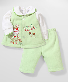 Babyhug Fleece Top Jacket And Legging Combo Set - Green