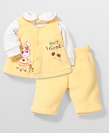 Babyhug Fleece Top Jacket And Legging Combo Set - Yellow