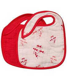 Mulmul Naturals Warli Design Bibs Red - Set Of 2