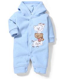 Babyhug Fleece Three Teddy Bear Patched Rompers - Blue
