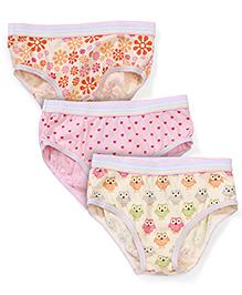 Babyhug Panties Multi Print Set Of 3 - Pink Yellow Cream