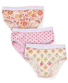 Babyhug Panties Multi Print Set Of 3 - Pink Yellow Cream