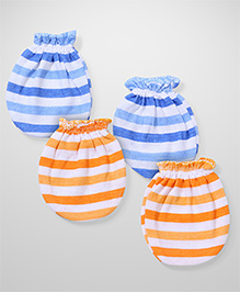 Babyhug Stripe Mittens Pair of 2 - Blue Orange