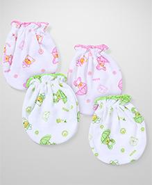 Babyhug Mittens Bear Print Pair of 2 - Green Pink