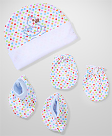 Babyhug Cap Mittens And Booties Duck Embroidery - Blue White