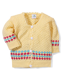 Babyhug Front Open Knitted Sweater - Light Yellow