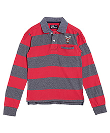 Flying Machine Full Sleeves Striped T-Shirt - Red Grey