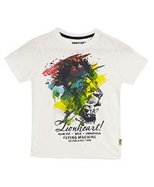 Flying Machine Half Sleeves T-Shirt Lion Heart Print - White