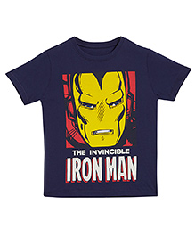 Flying Machine Half Sleeves T-Shirt Iron Man Graphic Print - Navy Blue