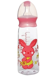 Mee Mee Printed Feeding Bottle Pink - 240 Ml - Promotes Natural Breast Sucking Motion For The Baby