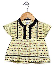Babyhug Short Sleeves Frock Bird Print - Yellow