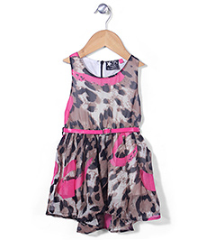 Vitamins Sleeveless Party Frock With Belt - Brown Pink