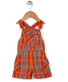 Babyhug Sleeveless Dungaree Check Print - Orange