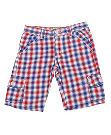 Color Fly Check Cargo Shorts - Red & Blue