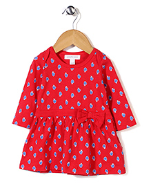 Pumpkin Patch Full Sleeves Frock - Red