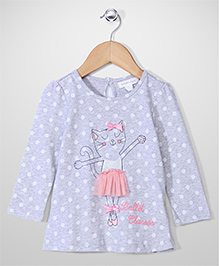 Pumpkin Patch Polka Dot Top Cat Print - Grey