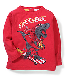 Pumpkin Patch Full Sleeves T-Shirt Dinosaur Print - Red