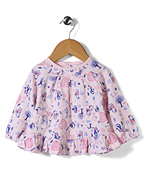 Pumpkin Patch Full Sleeves Frock Style Top Multiprint - Light Pink