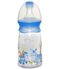 Mee Mee Printed Feeding Bottle Blue - 120 Ml - Promotes Natural Breast Sucking Motion For The Baby
