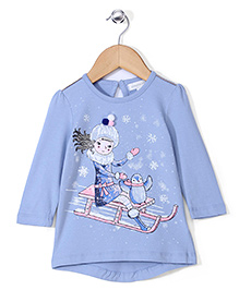 Pumpkin Patch Full Sleeves Party Top - Blue