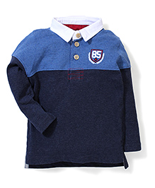 Pumpkin Patch Full Sleeves T-Shirt 85 Embroidery - Royal And Navy Blue