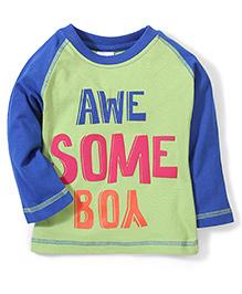 Babyhug Raglan Sleeves T-Shirt Awesome Print - Light Green
