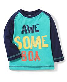 Babyhug Raglan Sleeves T-Shirt Awesome Print - Sea Green