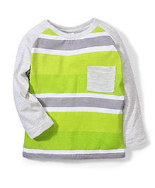Babyhug Striped Raglan Sleeves T-Shirt  - Green Grey