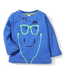Babyhug Full Sleeves T-Shirt Face Print - Royal Blue