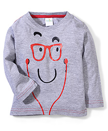 Babyhug Full Sleeves T-Shirt Face Print - Melange Grey