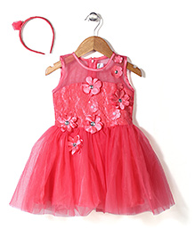 Babyhug Party Wear Frock With Hair Band Floral Motifs - Pink