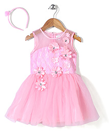 Babyhug Party Wear Frock With Hair Band Floral Motifs - Light Pink