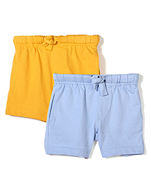 Mothercare Pack Of 2 Solid Color Shorts - Yellow & Sky Blue