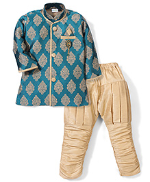 Babyhug Full Sleeves Kurta And Jodhpuri Breeches - Green And Golden
